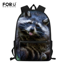 FORUDESIGNS Raccoon Junior High School Backpacks For Girls Primary Kids Bags Large Capacity School Bags For Children Mochila