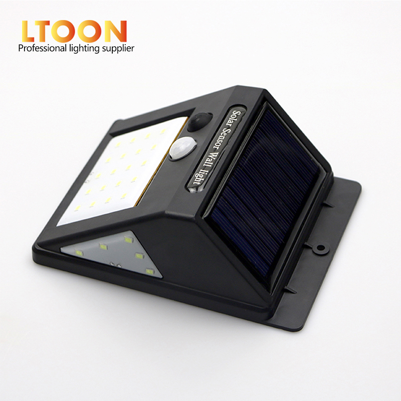 [LTOON]LED Solar Power PIR Motion Sensor Wall Light 3-sided illumination LED Outdoor Waterproof Energy Saving Street