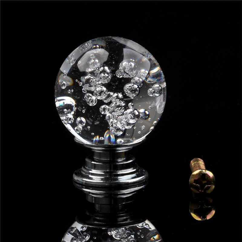 1 adet kristal şeffaf kabarcık yuvarlak top kapı kolu modern tek delik dolap çeker dolap çekmece mutfak mobilyası kolu