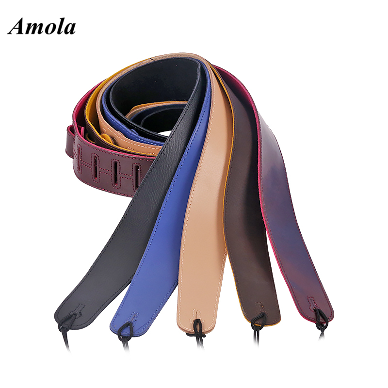 Adjustable Black Electric guitar Bass Leather Straps Crafted Super Wide Leather Double Padded Guitar Strap