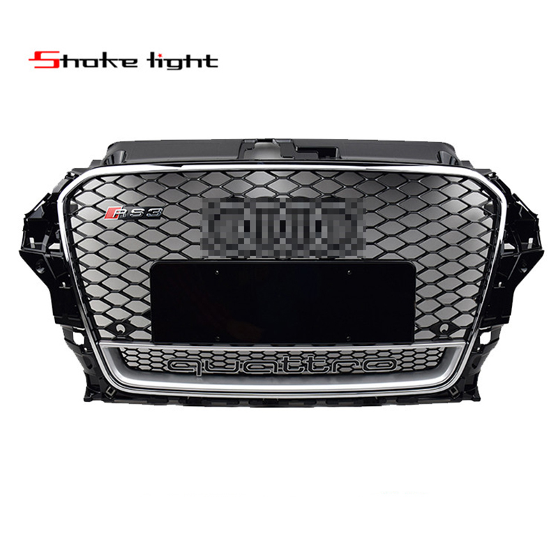 Quattro Emblem For Audi A3 S3 RS3 2014-2016 ABS Chrome Black Style Honeycomb Mesh Front Bumper Grille