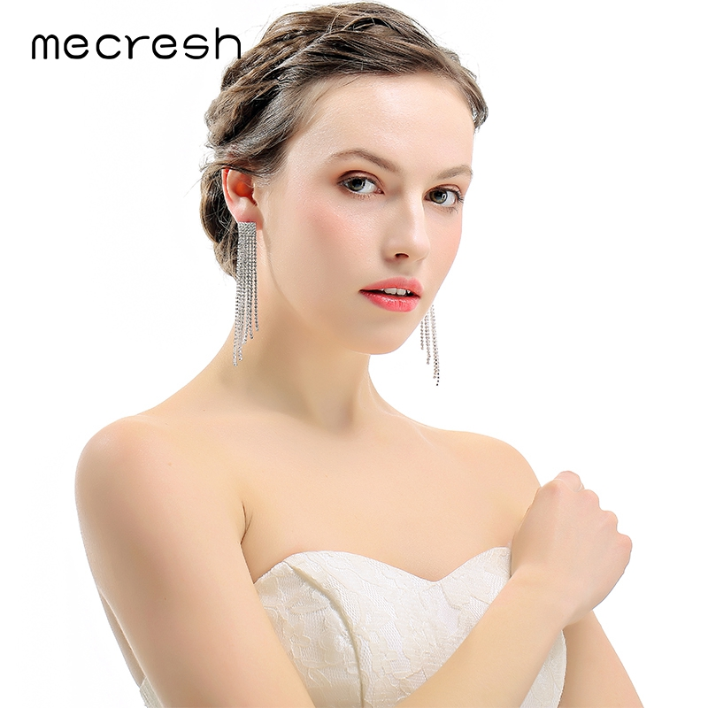 Mecresh Crystal Long Tassel Wedding Earrings Silver/Gold-Color Bridal Brincos 2018 Engagement Jewelry Accessories EH424
