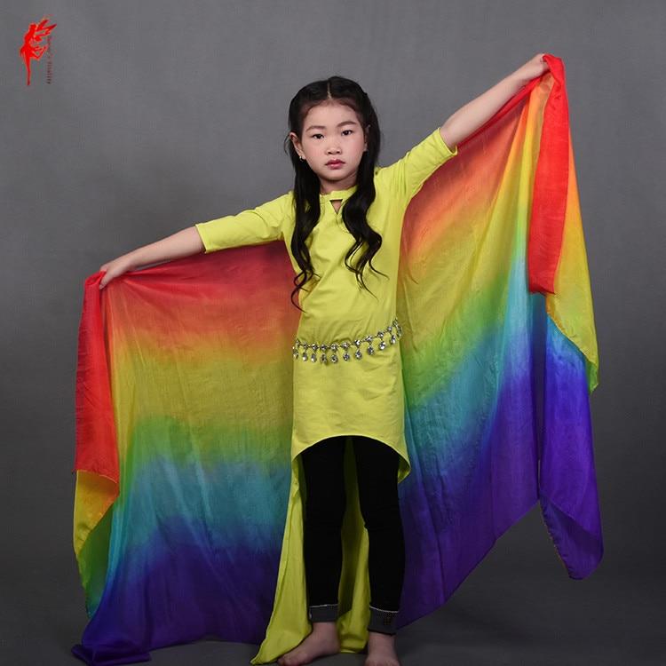 Kids 100% Silk Belly Dance Veil For Dancer's Hand Silk Veil Girls Belly Dance Props Veil Show On The Stage