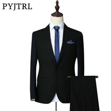 Masculino Thick Blue / Black Business Slim Fit With Pants
