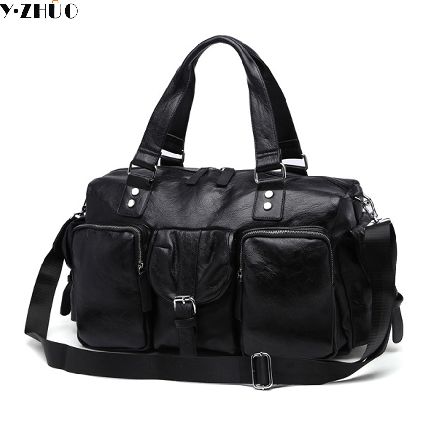 large capacity leather man big travel bag luxury brand handbags tote Single shoulder duffle bag top-handle bags free shipping