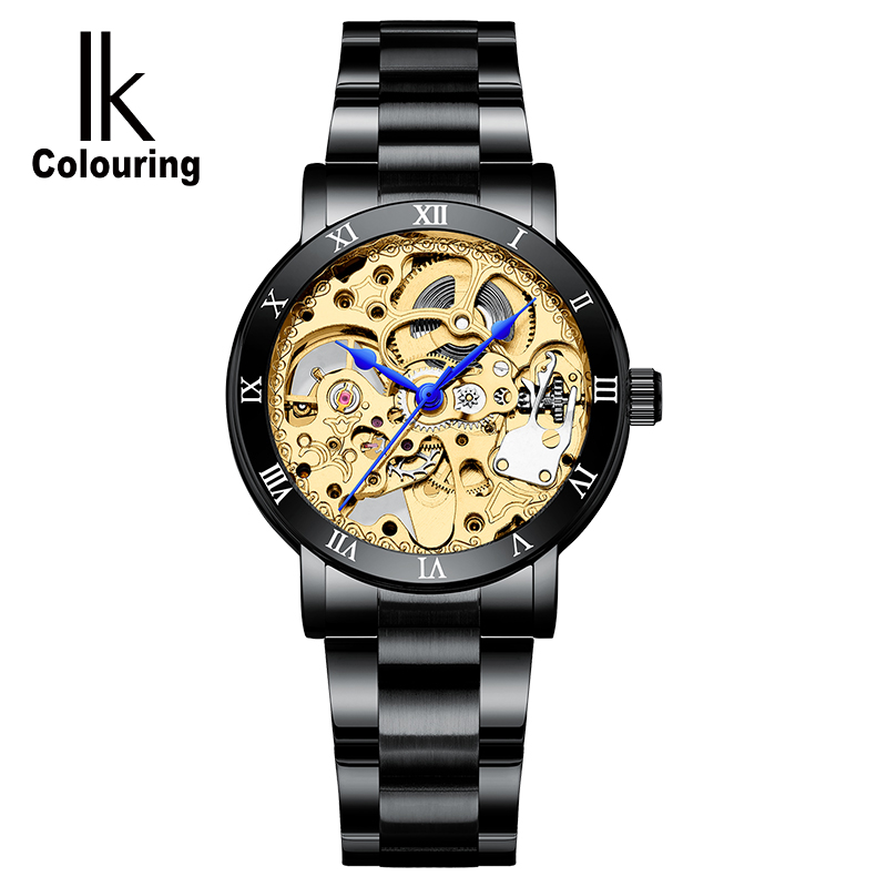 2019 Fashion Women Automatic Mechanical Wristwatches Ladies Famous Brand Luxury Black Simple Skeleton Dial Stainless Steel Watch