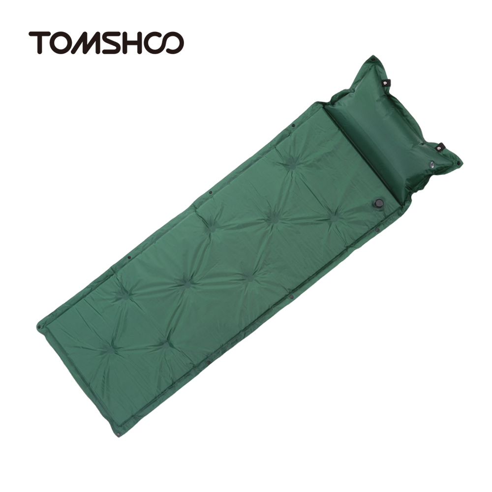 New Self Inflating Camping Mattress Inflatable Sleeping Pad Air With Pillow Portable Folding Beach Mat Tomshoo In From Sports