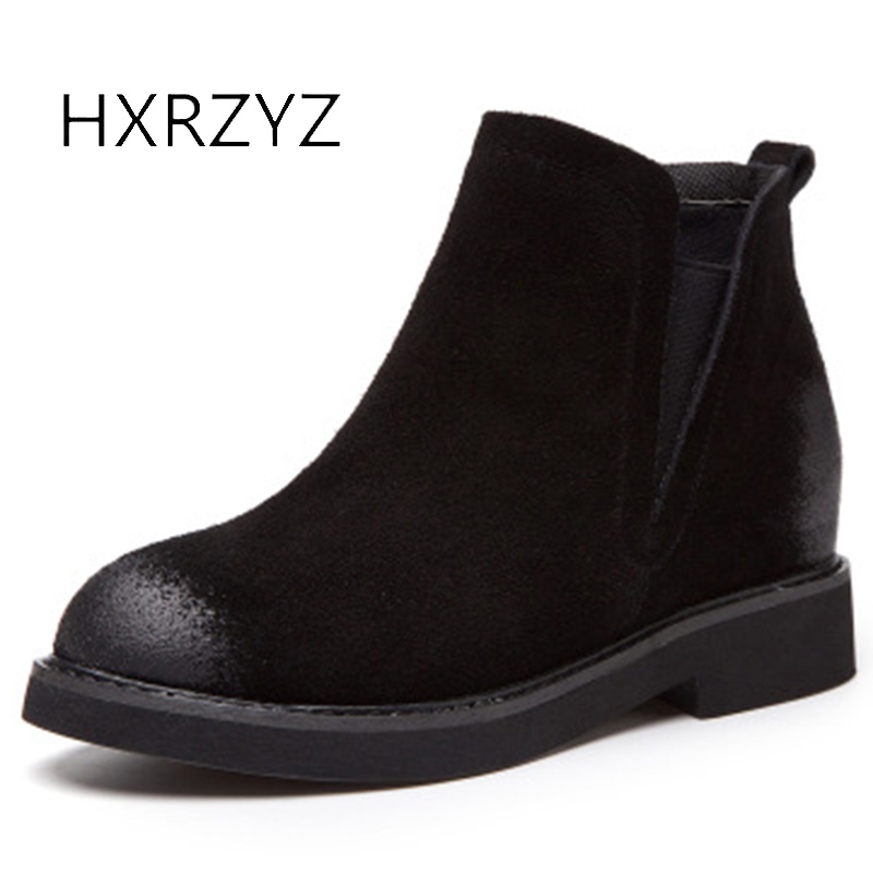 HXRZYZ women ankle boots suede genuine leather chelsea boots autumn fashion stretch increase shoes women's winter black shoes тапочки beppi beppi be099amlmo35