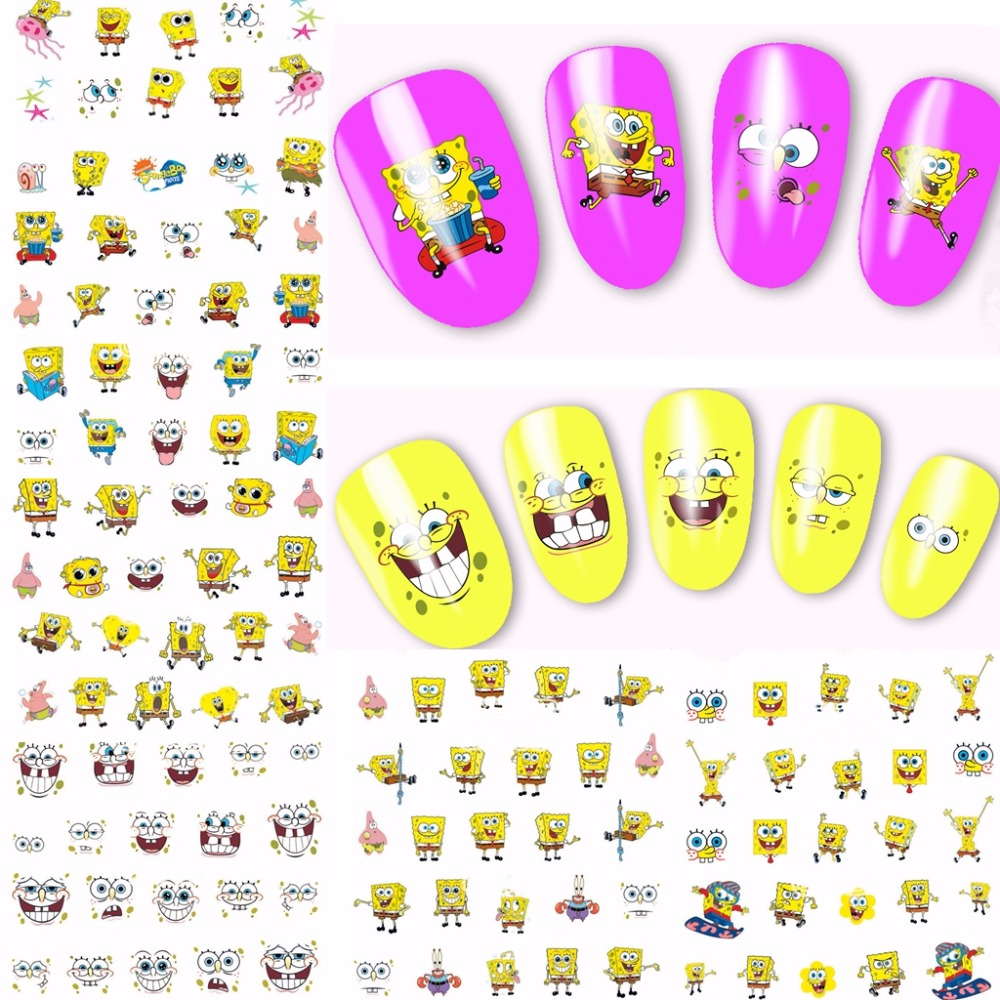 2018 12 sheets Spongebob cartoon style Designs full Water Transfer Decals Nail Art Stickers nails decoration manicure tools A756 1pcs water nail art transfer nail sticker water decals beauty flowers nail design manicure stickers for nails decorations tools