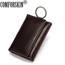COMFORSKIN Guaranteed Cowhide Vintage Key Wallets New Arrivals Three-fold Multi-function Coin Purse High Quality Men Holder