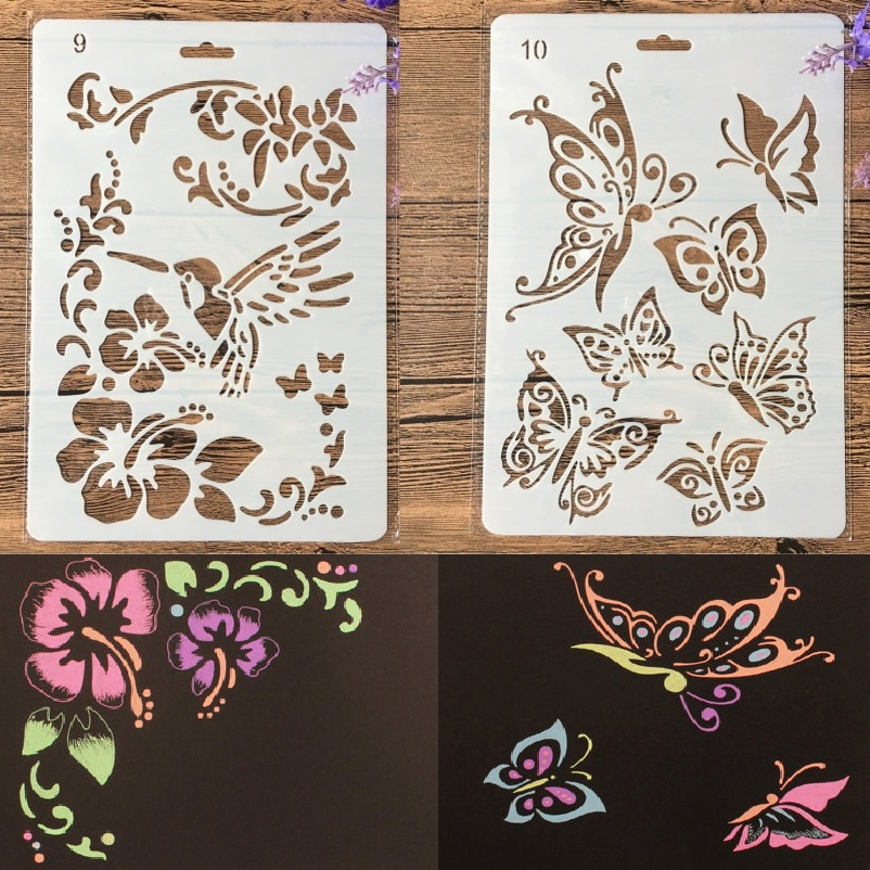 1Pair 27cm Hummingbird Butterfly DIY Craft Layering Stencils Painting Scrapbooking Stamping Embossing Album Paper Template