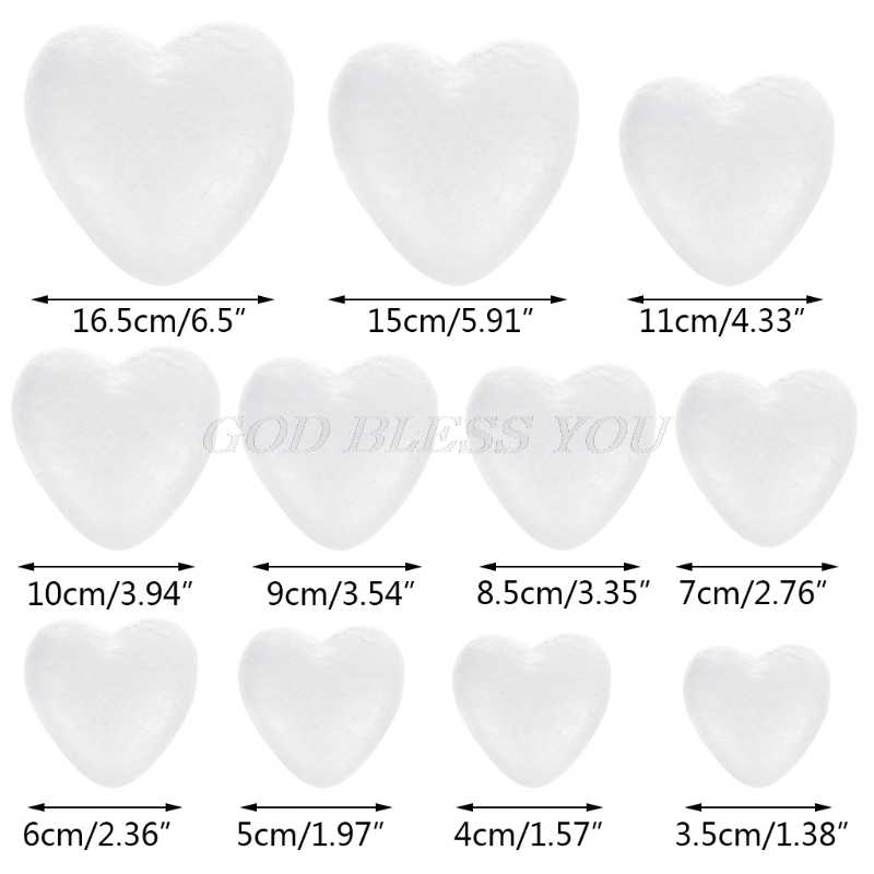 White Modelling Foam Heart Polystyrene Styrofoam Ball Crafts For DIY Christmas Wedding Party Supplies Decoration Ornament