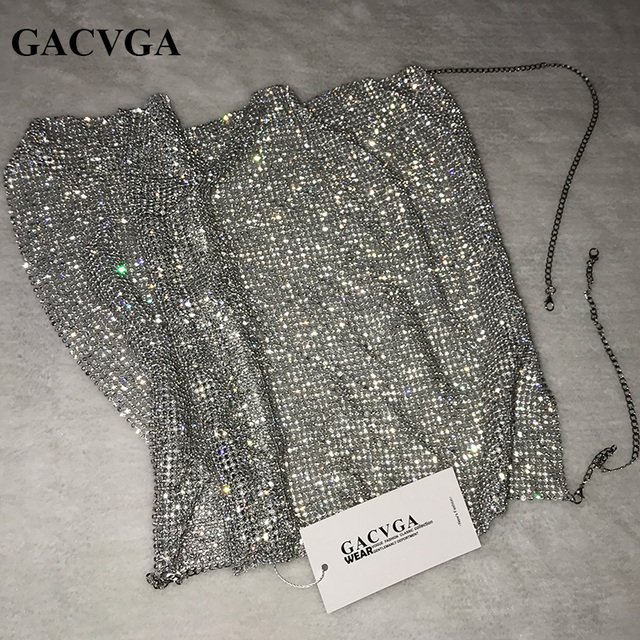 GACVGA 2019 Crystal Diamond Sexy Backless Women Crop Tops Halter Tank Camis Cropped Bra Crop Top Strap Lady Party Vest T Shirt 8