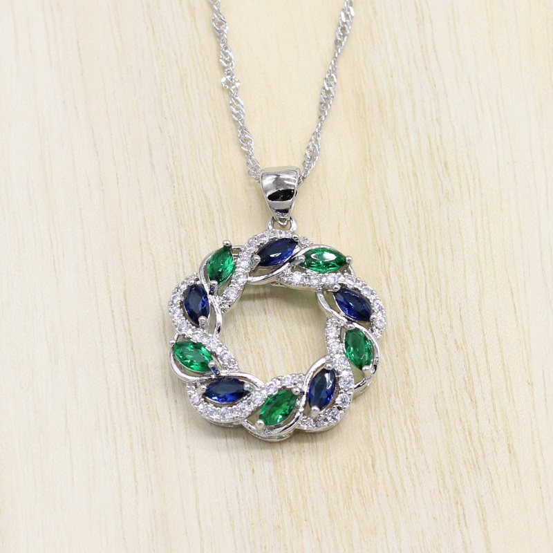 925 Silver Jewelry Hollow Necklace Pendant for Women Blue and Red Cubic Zirconia Jewelry
