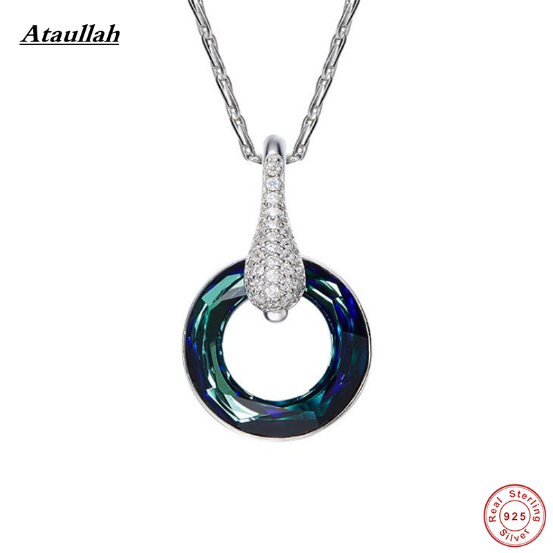 Ataullah Circle 925 Sterling Silver Natural Crystal Necklaces & Pendants for Women Choker Necklace Fine Jewelry NWP431