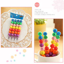 7 Colors New Crayons Creative Sugar-Coated Haws Cartoon Smiley Graffiti Pen Stationery Gifts For Kids Wax Crayon Pencil