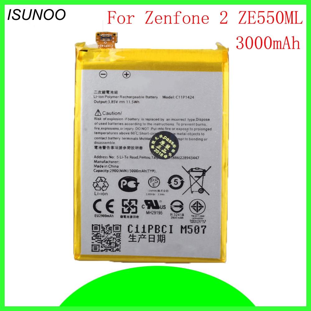 ISUNOO 3000 mAh C11P1424 batterie für ASUS Zenfone 2 ZE551ML ZE550ML 5,5 Zoll Smart handy akku