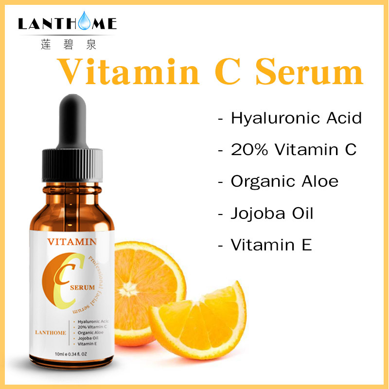 10ml Vitamin C Hyaluronic Acid Whitening Moisturizing Serum Anti Aging Anti Wrinkle Fade Dark Spot Firming Facial Essence