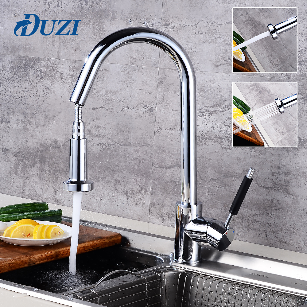 DUZI Kitchen Faucet Pull Out Deck Mounted Pull Swivel 360 Degree Rotating Cold And Hot Tap Chrome Torneira Dourada Mixer Tap durable kitchen faucet pull out deck mounted pull swivel 360 degree rotating cold and hot water tap torneira dourada mixer tap