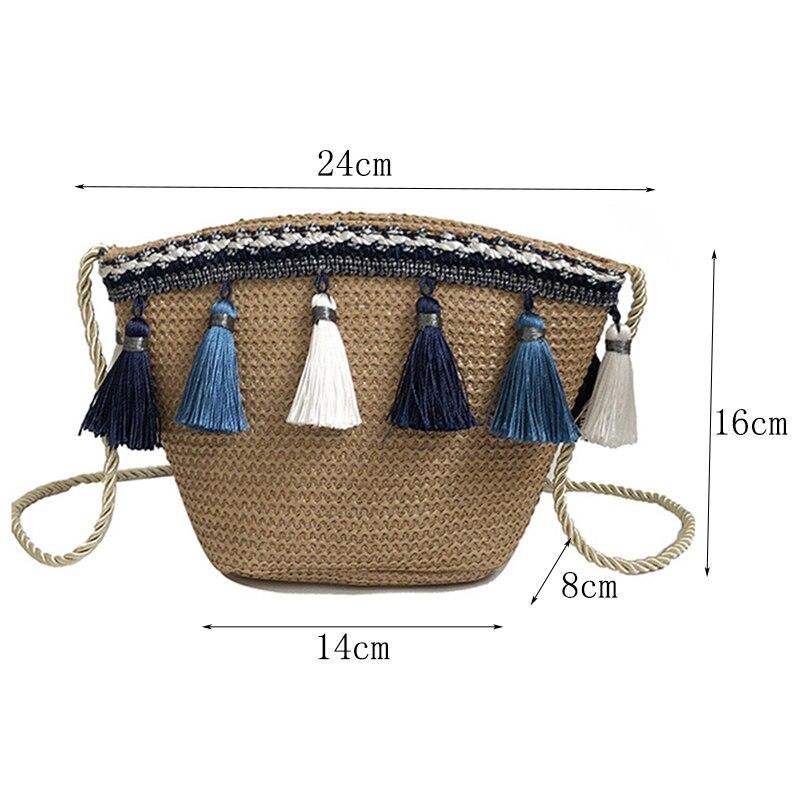 étnico ombro tecido artesanal corda rattan praia saco