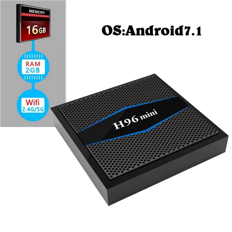 Dual Band Wifi TV Box Android 7.1 Amlogic S905W Quad Core Smart Mini PC with Bluetooth 4.0 4K Streaming Media Player 2GB 16GB