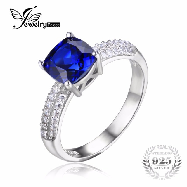 JewelryPalace Cushion 2.6ct Blue Created Sapphire Solitaire Engagement Ring For Women Pure 925 Sterling Silver Fashion Jewelry