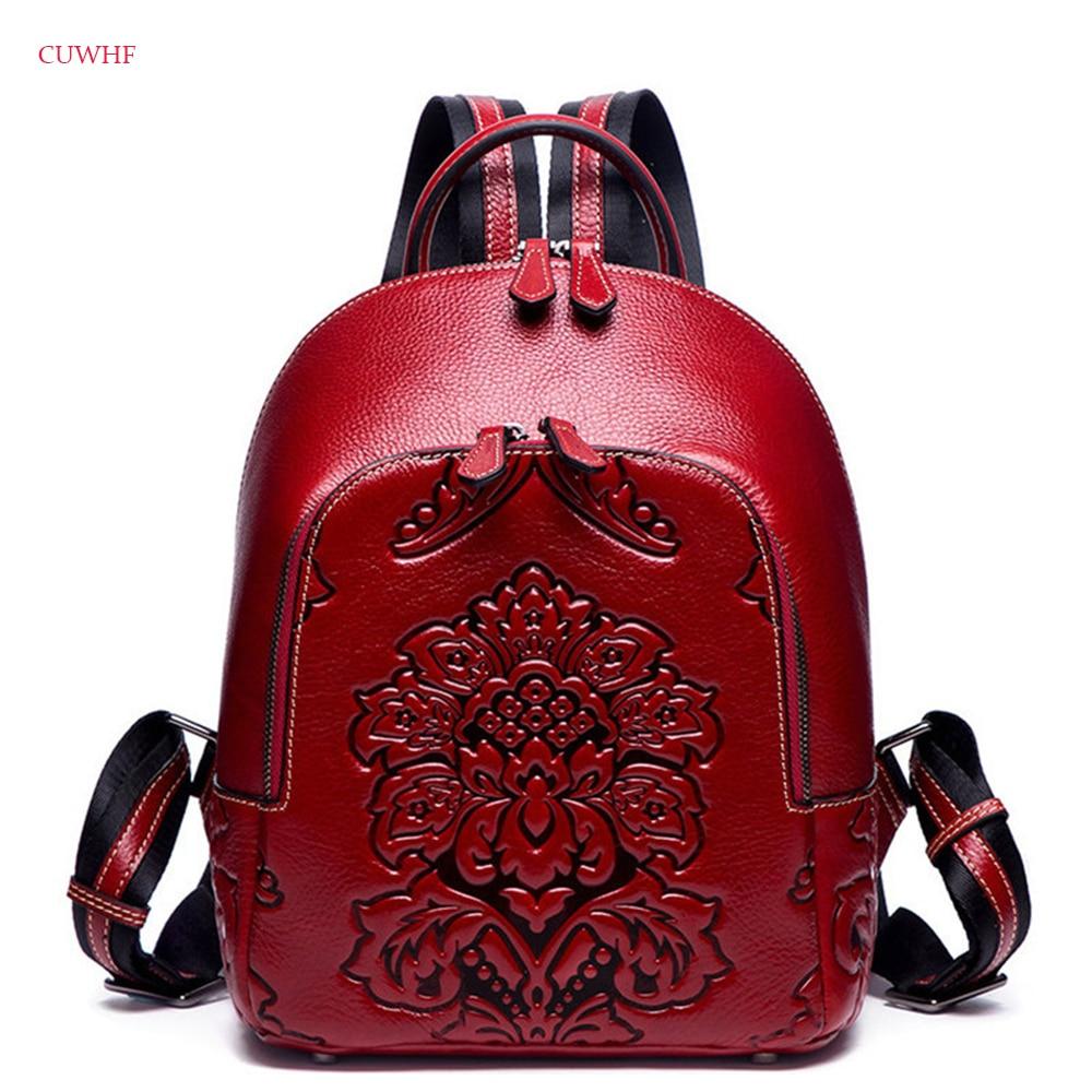 CUWHF New Fashion folk-custom Women Backpack Genuine Leather School Bags For Teenagers Leisure Backpacks Female Travel Rucksack все цены