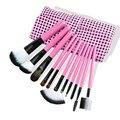 11 Pcs Lã Maquiagem Escovas de Cabelo Set Romântico Pinkblack Pro Fundação Pó Corretivo Delineador Sobrancelha Sombra Escova Com Saco
