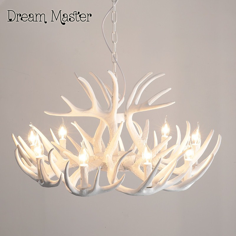 Europe Country 6 Head Candle Antler Chandelier American Retro Resin Deer Horn Lamp Home Decoration Lighting E14 110-240V europe country 5 heads french retro pendant light resin deer horn antler glass lampshade home decoration lighting e27 110 220v