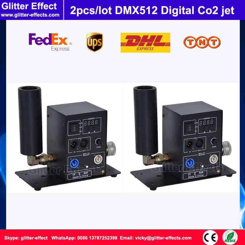 2pcs/lot DMX512 digital cyro fog machine Single pipe Co2 jet DJ disco night club bar stage equipment