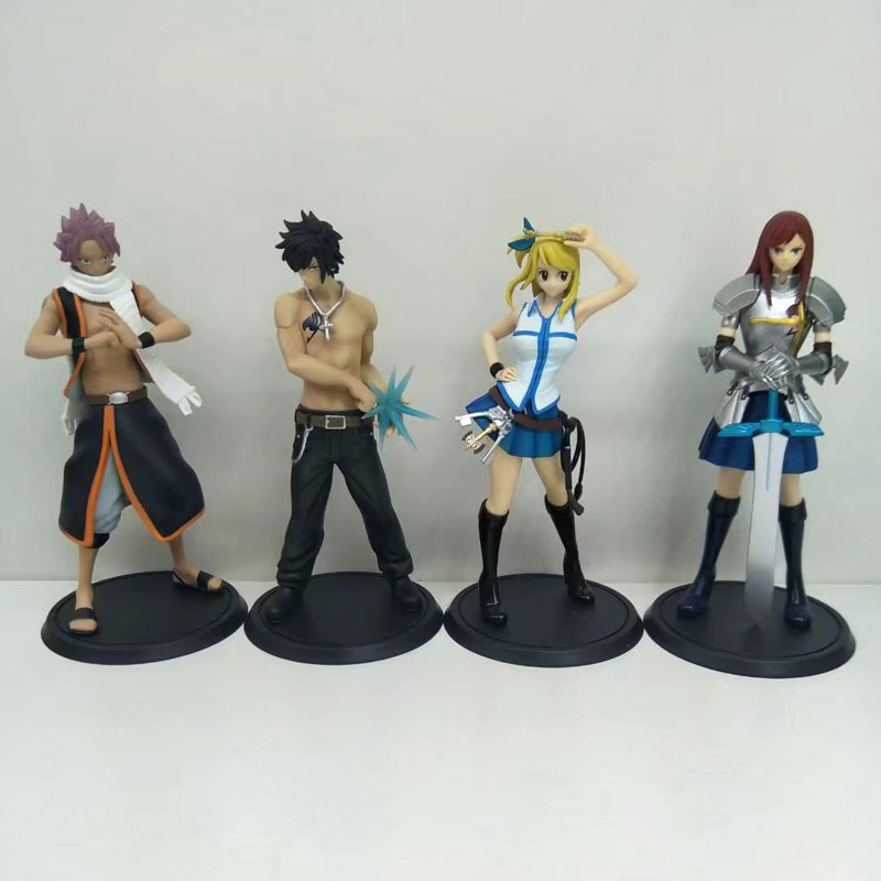 Free Shipping 4pcs 5 Fairy Tail Anime Natsu Grey Lucy Erza set Boxed 13cm PVC Action Figure Collection Model Doll Toy Gift hot 23cm anime fairy tail natsu 1 7 scale action figure pvc collection figures toys for christmas gift brinquedos fast shipping
