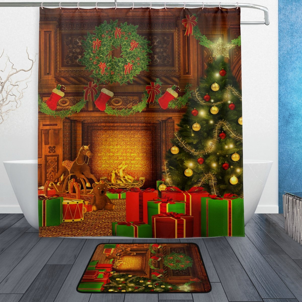 Christmas Tree Shower Curtain and Mat Set, Vintage Retro Room Happy New Year Waterproof Fabric Bathroom Curtain Modern