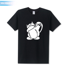 Men's T Shirts Fashion 2018 Dabbing Cat Funny Streetwear Men Cotton Dab Pose Hip-hop Animal Printed T Shirt Plus Size SX-3XL цена