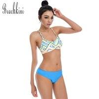 ดอกไม้พิมพ์บิกินี่ชุดPush upกราฟิกH Ipsterชุดว่ายน้ำชุดว่ายน้ำสตรีผ้าพันแผลBiquiniบราซิลชุดว่ายน้ำ