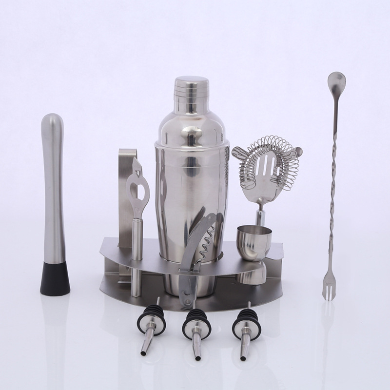 11pcs/set Hot sale stainless steel 350ML wine mixer set cocktail shaker kettle mixing tools Cocktail Whisk Bar Bartender Tools