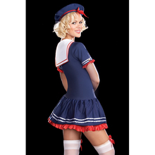 2017 Hot New Women Sexy Blue Sailor Girl Outfit Fancy Skirt Dress Costume Nautical Outfit with Hat W438049