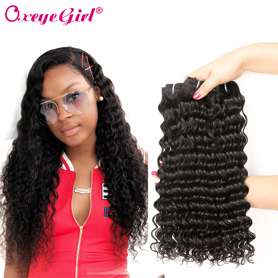 Deep Wave Bundles Brazilian Hair Weave Bundles kan köpa 1/4 stycken Nonremy Deep Curly Hair Extensions Oxeye Girl Human Hair Bundles