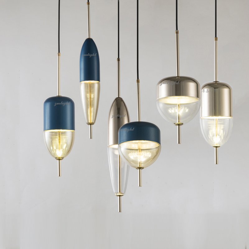 Image 2 - Simple modern glass ball pendant light LED E27 art deco Europe hanging lamp with 8 styles for bedroom restaurant kitchen parlor-in Pendant Lights from Lights & Lighting