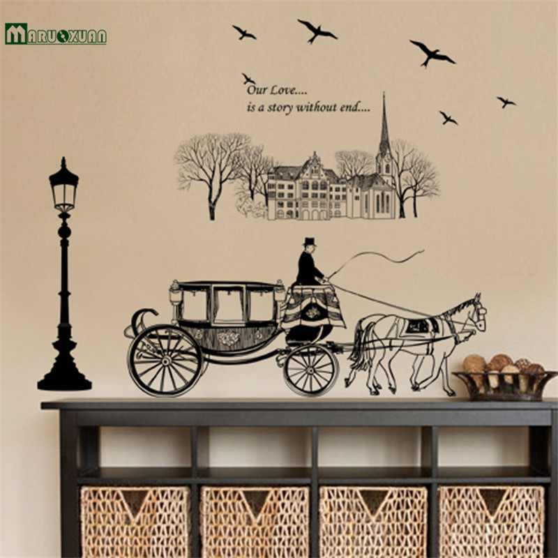 Maruoxuan Home Decoration Bird Horse Carriage Road Wall Stickers Living Room Bedroom Painting Tv Background Wall Decals