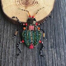 Francuski projekt beetle koraliki ręcznie haftowane jedwabne indie broszka broszka buiter, zarówno mężczyźni, jak i kobiety