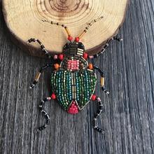 Fransız tasarım beetle boncuk el İşlemeli İpek hindistan broş broş buiter, hem erkekler hem de kadınlar