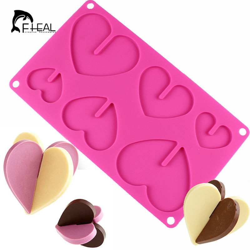 FHEAL 1pc Heart Chocolate Molds Bakeware Silicone Cake ...