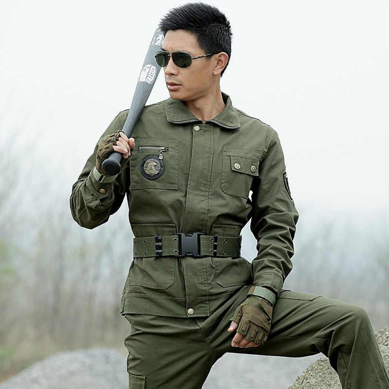 ยุทธวิธีกองทัพสีเขียวทหาร Security เสื้อผ้ากลางแจ้ง 2018 ชาย American Combat แจ็คเก็ต + กางเกงชุดพราง