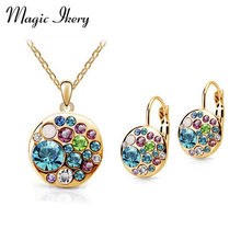 Magic Ikery Vintage Earrings Necklace Set Gold Color Crystal Round African Costume Women Jewelery Indian Bridal Jewelry Sets(China)