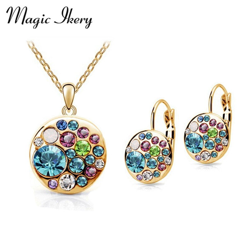 Sihir Ikery Vintage Anting Kalung Set Warna Emas Kristal Putaran Kostum Afrika Wanita Perhiasan Indian Bridal Jewelry Set
