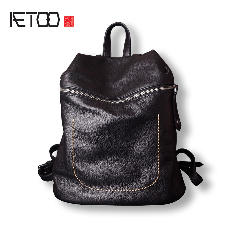 AETOO Simple retro leather shoulder bag soft leather bag new first layer of leather bag female shoulder bag aetoo first layer of leather shoulder bag female bag korean version of the school wind simple wild casual elephant pattern durab