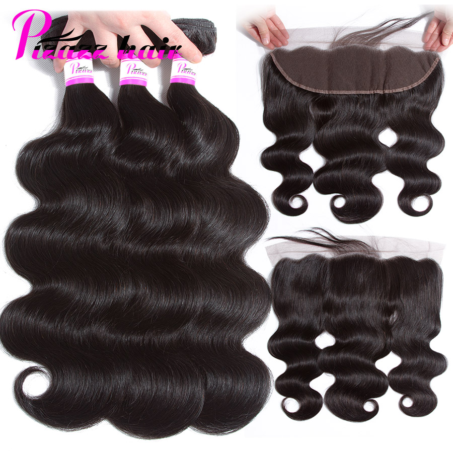 Pizazz 13x4 Lace Frontal Closure With Bundles Free Part Brazilian Body Wave Human Hair 3 Bundles With Frontal Closure Non Remy