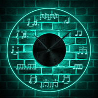 Sheet Music Wall Art Lighting Studio Room Wall Decor Modern Design Wall Clock Piano Treble Staff Decorative Luminous Wall Clock