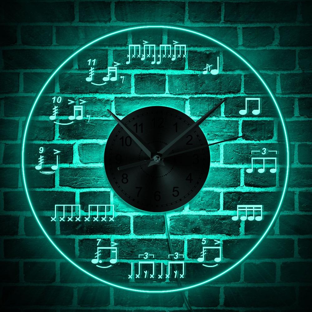 Us 25 49 15 Off Sheet Music Wall Art Lighting Studio Room Wall Decor Modern Design Wall Clock Piano Treble Staff Decorative Luminous Wall Clock In