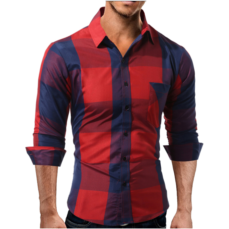 YUQIDONG Brand 2018 Fashion Male Shirt Long-Sleeves Tops Large Grid Oversize British Business Mens Dress Shirts Slim Men Shirt